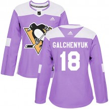 Women's Adidas Pittsburgh Penguins Alex Galchenyuk Purple Fights Cancer Practice Jersey - Authentic