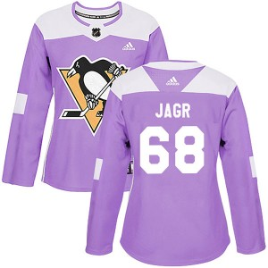 Women's Adidas Pittsburgh Penguins Jaromir Jagr Purple Fights Cancer Practice Jersey - Authentic